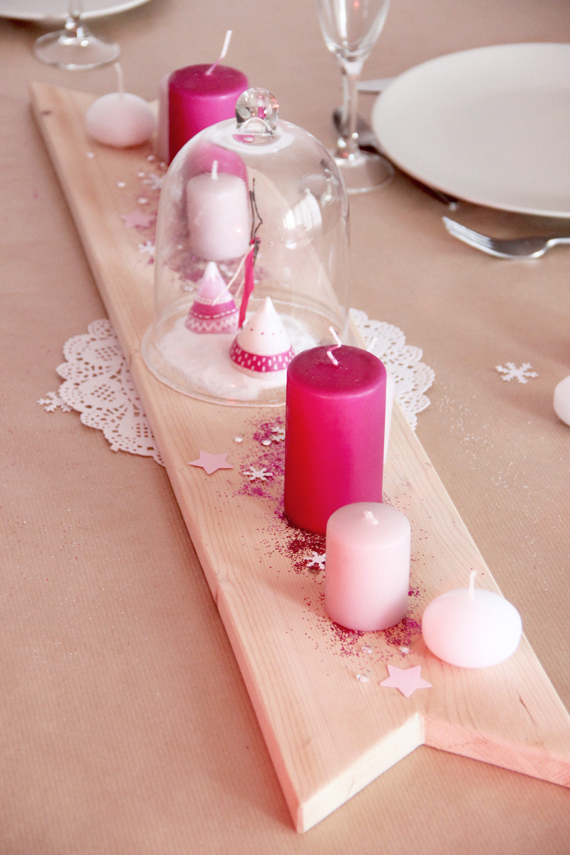 decoration-centre-de-table-noel-diy-fimo-bougies-paillettes