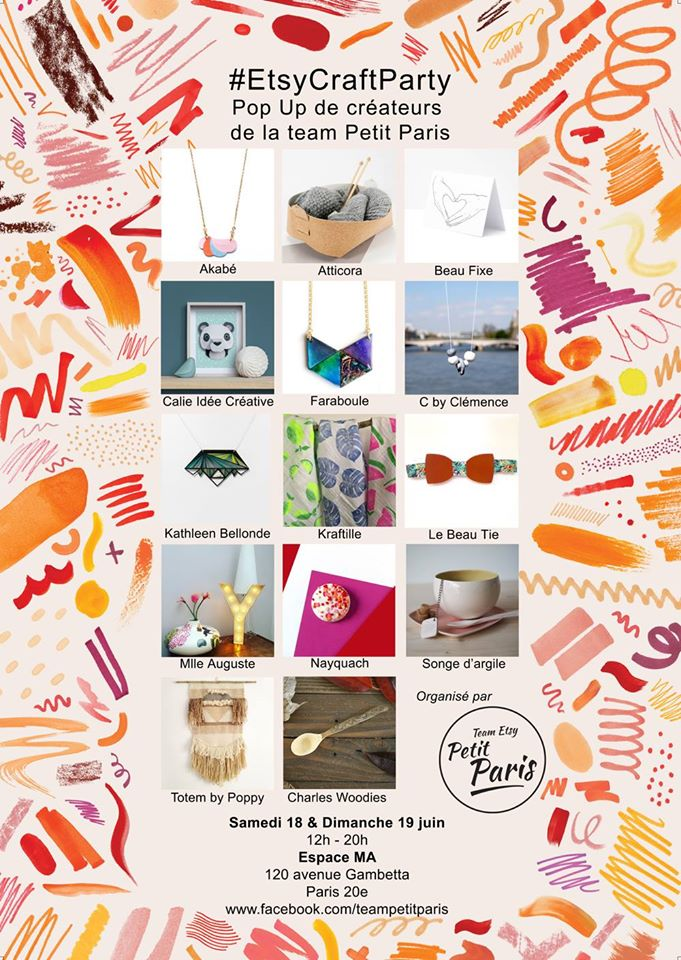 Pop up shop de créateurs Etsy Craft Party à Paris les 18 et 19 juin 2016